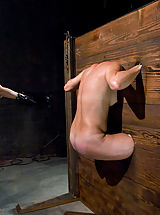 Girl in body stocks and extreme caning!