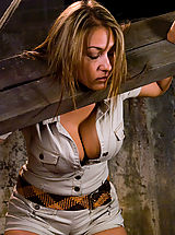 Busty tan blond, bound, tormented, and foced to cum!