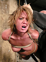 Sexy tan Holly Wellin is tied up tight and forced to cum, tickled