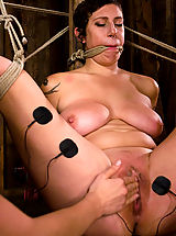 Amateur gets her big tits tied and shocked for the FIRST TIME ever
