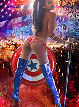 Hot Babes in Action Captain America