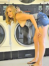Drew plays doing her laundry